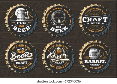 Set beer logo on caps - vector illustration, emblem brewery design on black background