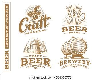 Set beer logo - vector illustration, emblem brewery, design on white background.