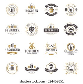 Set Beer Logos, Badges and Labels Vintage Style. Design elements retro vector illustration.