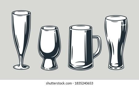 Set of beer mug with foam retro bar and pub menu. Tipes of glasses for bavarian october festival