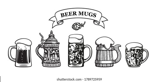 Set of beer mugs. Glass mug with foam. Traditional German stein. Octoberfest dimpled stein. Old wooden mug. Dimpled  beer pint. Hop cone. Ribbon banner with text Beer Mugs, Vector illustration.