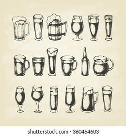 Set of beer mugs. Hand-drawn sketch elements. Vector illustration.