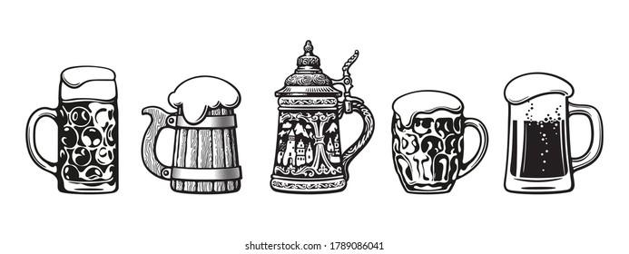 Set of beer mugs. Octoberfest stein. Old wooden mug. Traditional German stein. Dimpled  beer pint. Glass mug with foam.  Vector illustration isolated on white background.