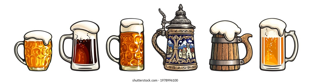 Set of beer mugs. Octoberfest stein. Old wooden mug. Traditional German stein. Dimpled  beer pint. Glass mugs with foam. Vector illustration isolated on white background.