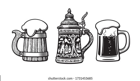 Set of beer mugs. Old wooden mug. Traditional German stein. Glass mug with foam. Brewery, beer festival, bar, pub design. Hand drawn vector illustration isolated on white background.