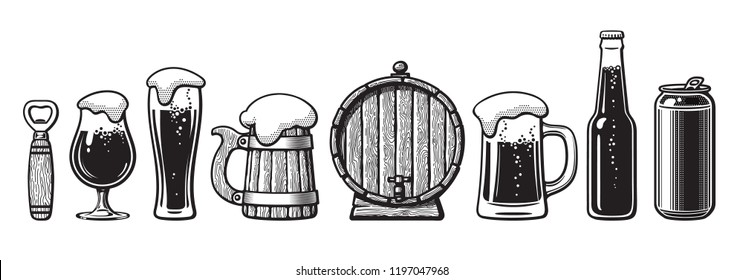 Set of beer objects. Bottle opener, glasses, old wooden mug, barrel, can. Vector illustration. Brewery, beer festival, bar, pub design. Hand drawn vector illustration isolated on white backgraund.