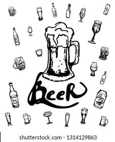 Set of beer objects. Hand drawn vector illustration. Vector set of craft beer bottles in ink hand drawn style.