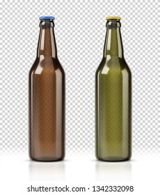 Set of beer photorealistic bottles isolated on transparent background. Bottle of beer on white background. Beer Bottle Mockup isolated on white backdrop.