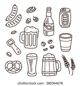 Set of beer related doodle icons. Hand drawn sketches. Isolated vector illustration.