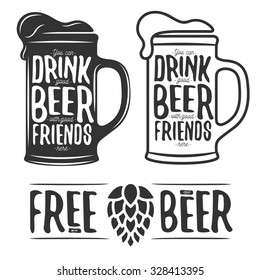 Set of beer typography vintage prints. Quotes about beer. Free wi-fi. Cold beer. Vector illustration.