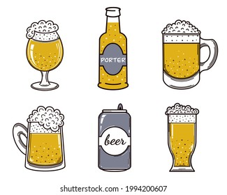 Set of beer vector icons. Alcohol in a glass, mug, bottle, aluminum can, cup. Isolated illustration on a white background. Wheat drink with foam. Oktoberfest symbol, flat style. Ale, porter, lager.