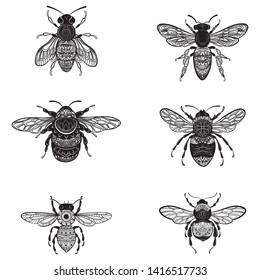 Set of bees in zentangle style. Collection of flies with ornaments. Black and white vector illustration of stylized insects. Tattoo.