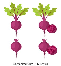 Set of beet - beet with leaves and half of beet, beet without leaves and with half of beet. Vector illustration.