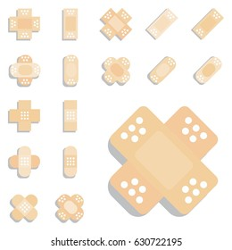 Set of Beige Plaster or Band Aid Icon. Medical Patch Symbol Collection