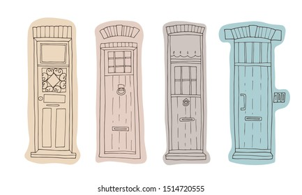 Set of Belgian doors. Hand-drawn vector illustration. Architectural details of old European house.