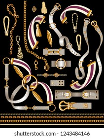 Set of the belt elements, chain and braid for fabric design. V