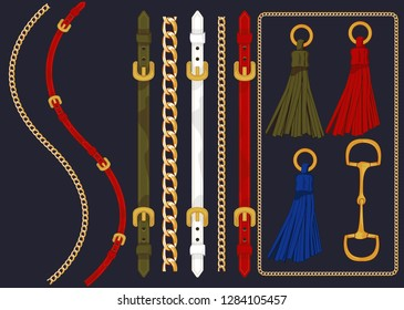 Set of the belt elements, chain and braid for fabric design. Vector - Vektör