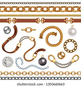 Set with belts and gold and silver chains for fabric design, wallpapers, prints. Isolated vector illustration with metallic accessories.
