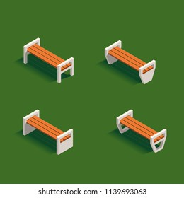 Set of benches for Isometric green summer city park concept. Vector illustration