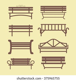 Set of benches made as flat vector illustration