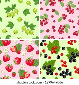 Set of berry seamless patterns. Strawberries with flowers, gooseberries, red and black currants, cranberries, green leaves. Vector illustration in cartoon flat style.