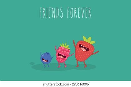 Set berry. Strawberries, raspberries, blueberries. Vector cartoon. Friends forever. Comic characters.