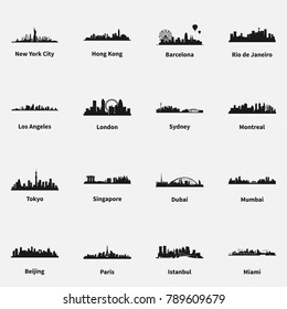 Set of best known cities skyline silhouette flat vector icons