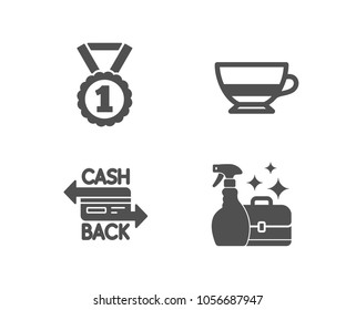 Set of Best rank, Bombon coffee and Cashback card icons. Cleanser spray sign. Success medal, Cafe bombon, Money payment. Washing liquid.  Quality design elements. Classic style. Vector