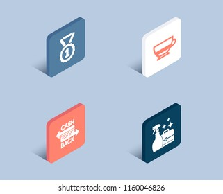 Set of Best rank, Bombon coffee and Cashback card icons. Cleanser spray sign. Success medal, Cafe bombon, Money payment. Washing liquid.  3d isometric buttons. Flat design concept. Vector