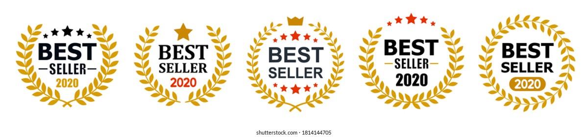 Establecer el mejor diseño de icono de vendedor con el logotipo de la mejor insignia de vendedor aislado - vector de stock