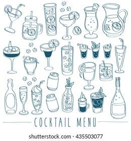 Set of Beverage Doodles : Cocktail Menu : Vector Illustration