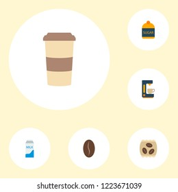 Set of beverage icons flat style symbols with sugar, pocket milk, coffeemaker and other icons for your web mobile app logo design.