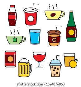 Set of beverage vector illustration isolated on white background. Drinks cartoon, drinks clip art