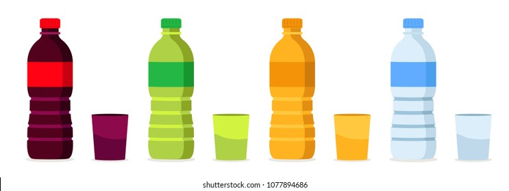 Set of Beverages bottles, soda, lemon, orange and water