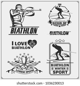 Set of biathlon emblems. Winter sport illustrations.