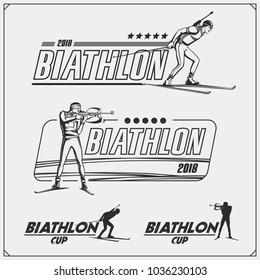 Set of biathlon emblems. Winter sport illustrations.