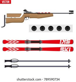 Set of Biathlon sport. Rifle with target and ski. Sporting equipment for winter games. Vector Illustration isolated on white background.