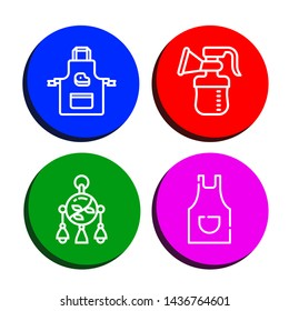 Set of bib icons such as Apron, Breast pump, Mobile toy , bib