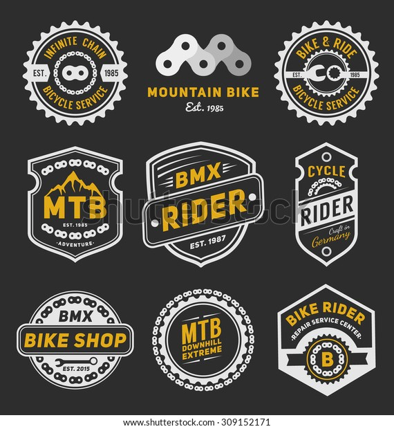 Speed Car Logo Template: Set Bicycle Badge Logo Template Design Stock Vector
