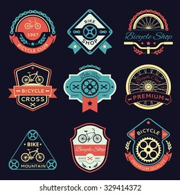Set of bicycle and bike color vector logo emblems and labels. Wrench and shop, gear and transport, sport label illustration