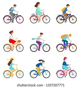 Set of bicycle cyclists riding bikes isolated on white background