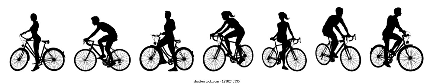 A set of bicycle cyclists riding their bikes in silhouette