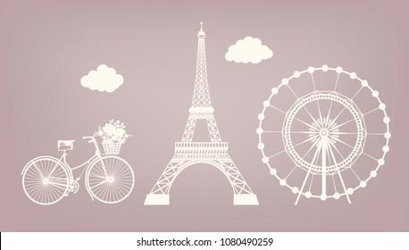 Фотообои Set, Bicycle, Eiffel tower, Ferris wheel