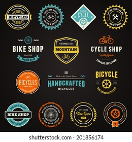 Set of bicycle graphics and logo design emblems