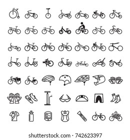 Set Of Bicycle Icon Vector