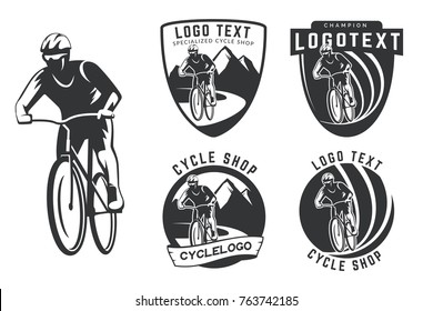 Set of bicycle logo, emblems and badges isolated on white background. Off-road cycling. Bicyclist with helmet on mountan road.