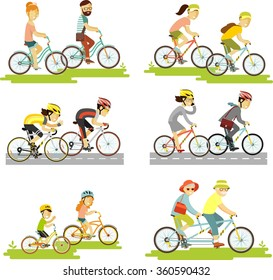 Set of bicycle rider couple in flat style. Cyclist man, woman, children, hipster, older, racing cyclist on bike and tandem