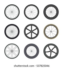Set of Bicycle wheels in flat style isolated on white background.