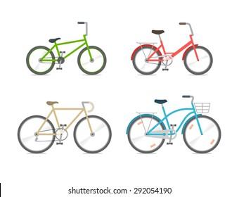 Set of bicycles in the flat style. BMX, folding bike, road bike, city bike