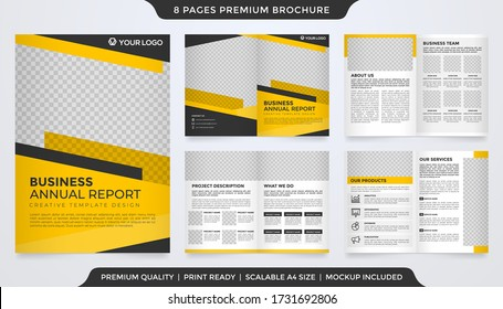 set of bifold brochure template design with abstract style and modern concept